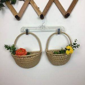 Vintage Wicker Woven Hanging Mud Basket Duo Set
